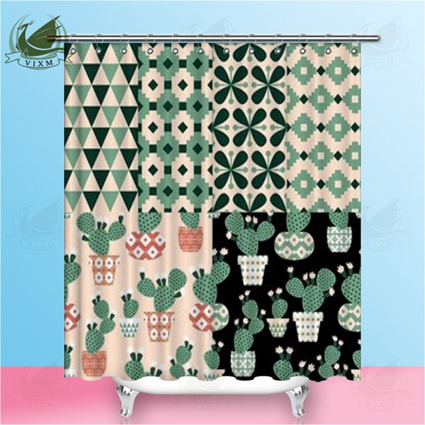 Vixm Cactus Collection In A Fun Flower Pot Navia Style Floral Shower Curtains Polyester Fabric Curtains For Home Decor