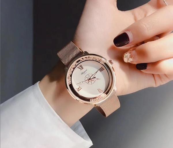 frau diamant blume uhren brand luxus krankenschwester damen kleider weiblich Faltschloss armbanduhr geschenke für mädchen