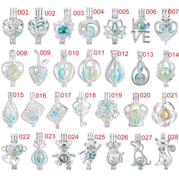 700 Diseños para usted elige -Silver Rainbow Color Locket Perlas de perlas Jaula Aceite esencial Difusor Locket Pendientes abiertos Regalos divertidos