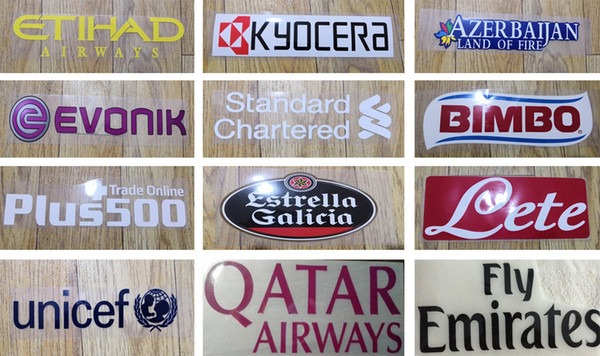 Hot stamping front sponsor logos on soccer jerseys Manchester printing plastic football stickers printed armband impressed soccer patches