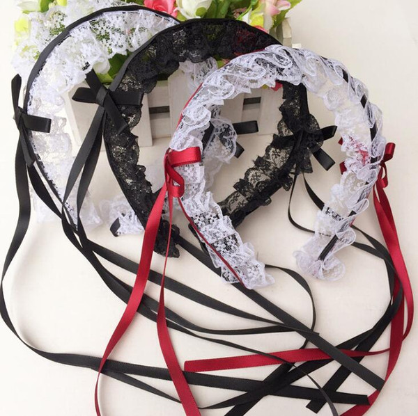 lolita girls lace ribbon tassels headband xmas hair hoop cosplay dressed up anime waitress maid devil hairband cos costume prop