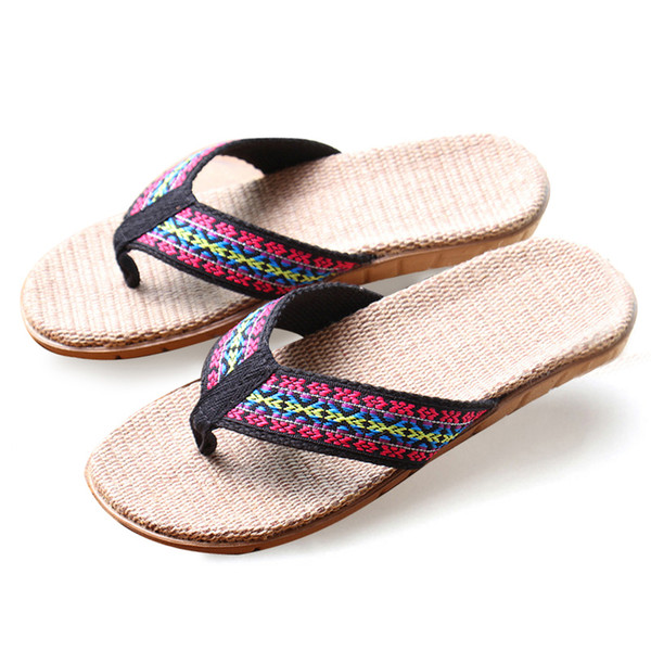 High Quality The New Summer Home Slippers Indoor Shoes Flax Slippers Non-Slip Bohemian Flip Flop Women Slippers