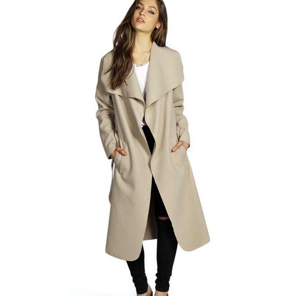 Kadınlar Kış Ceket Geniş Yaka Kemer Cep Yün Karışımı Mont Boy Uzun Kırmızı Trençkot Dış Giyim Yün Ceket Kadın
