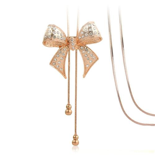 5Pieces Long Sweater Dangler Simple Temperament Hanging Chain Gold Silver Bow Necklace Korea Style Decoration For Women