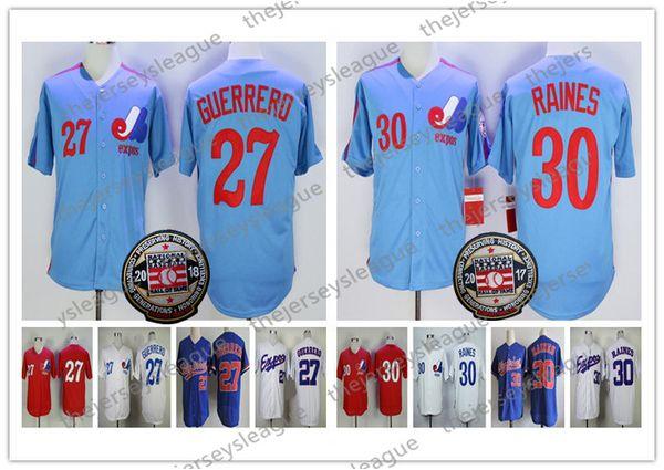 Montreal Expos # 27 Vladimir Guerrero 2018 HOF Vintage Jersey # 30 Tim Raines 2017 Retro Blue Royal White White Grey Mens ADD Parche