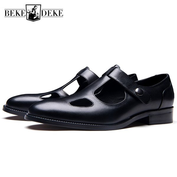 New Designer Mens Hollow Out Summer Gladiator Sandals 2019 Pointed Toe Genuine Leather Sandals Office Man Work Breathable Shoes