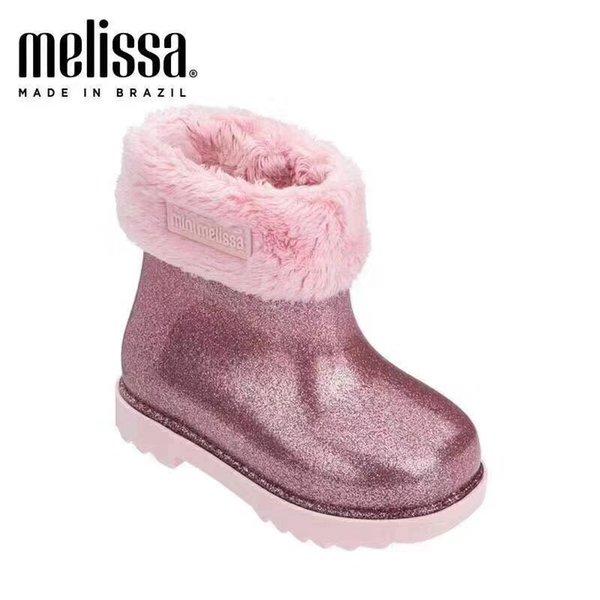 Mini zapatos Melissa chica caliente botas de nieve para los niños del niño del invierno Nueva princesa del niño antideslizante plana punta redonda preciosas niñas bebé