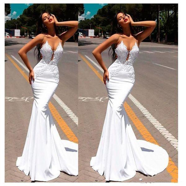 2018 white engagement black girls mermaid prom dresses Abendkleider formal evening dresses robes de mariée with lace