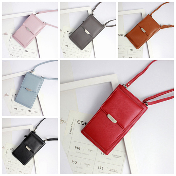 Bolsos de hombro del teléfono de las mujeres de cuero de la PU Monederos de cuero Mini Cadena Bolsas de teléfonos móviles Tarjetas de las señoras Monederos Messenger Bag 6 colores ZZA340