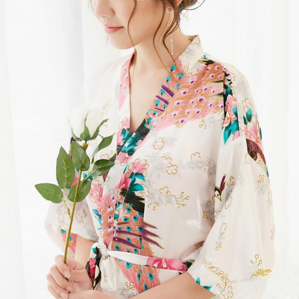 Белая невеста невесты свадебное платье Robe Мантия печати XXXL V-образным вырезом Ванна Ночное женщин сексуальный цветок Кимоно с поясом Lady Gift
