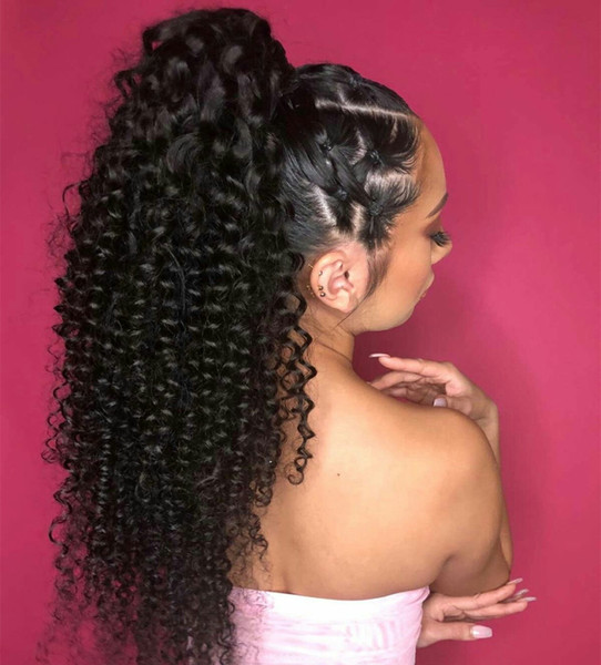 Natural Black Ponytail Hair Pieces For Women 1 Piece Tight Kinky Curly Ponytails Clip In 100% Human Hair Divas Hair Products Remy 160g