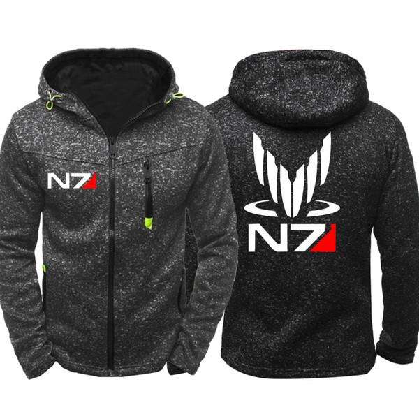 Mass Effect N7 Print Men Sports Casual Wear Hoodies Zipper Fashion Trend Jacquard Fall Sweatshirts Spring Autumn Jacket Coat Tracksuit