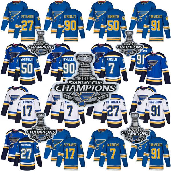 2019 St. Louis Blues Binnington Trikots von Vladimir Tarasenko Ryan O'Reilly Alex Pietrangelo Jaden Schwartz Maroon Stanley Cup Champions
