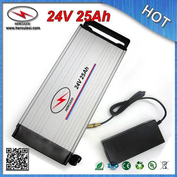 Gran capacidad de 24 voltios para bicicleta motor eléctrico 200 W - 750 W 30A BMS caso de aluminio de 18650 CC / CV carregador 2A