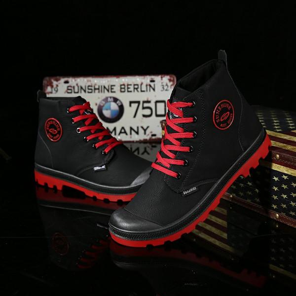 CIMIM Marka Sonbahar Erkek Bilek Boots Moda Casual Ayakkabı Su geçirmez kar botları Mikrofiber Deri High Cut Boş Kış