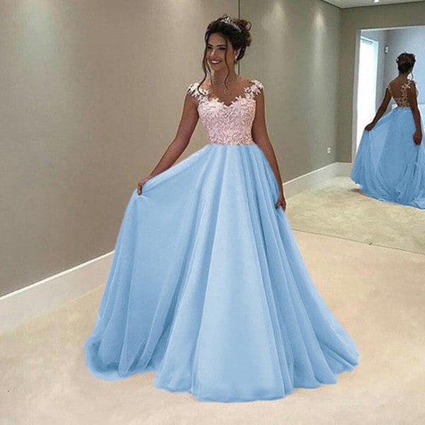 2019 New Fashion Long Prom Dresses Long Contrast Color Chiffon Lace Evening Party Gowns Cocktail Party Quinceanera Dresses