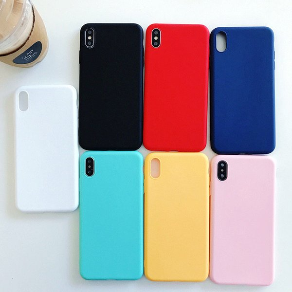 Hot Sell Solid Colored Mobile Phone Case TPU Frosted Soft Cellphone Protective Shell Popular Phone Back Cover Case For iPhone X 6/7/8 Plus