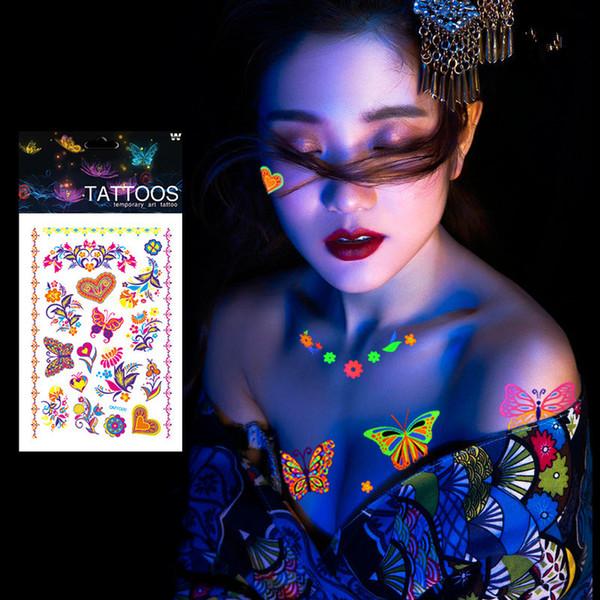 1 Sayfalık Aydınlık Geçici Dövmeler Çıkartmalar Glow Koyu Floresan Su Geçirmez Kelebek Dövme Yüz Vücut Sanatı Cadılar Bayramı Partisi için