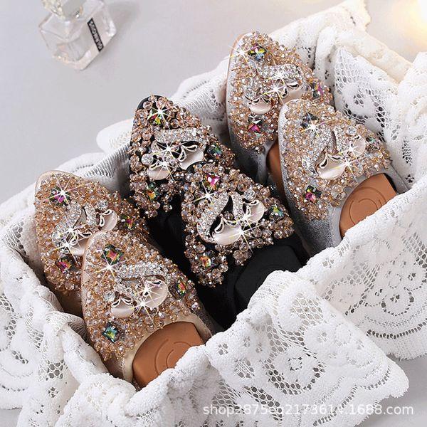 Rhinestone Flats para mujer Suela blanda, zapatos cómodos para mujeres, zapatos de ballet plegables para mujer para dama de honor nupcial - Fox