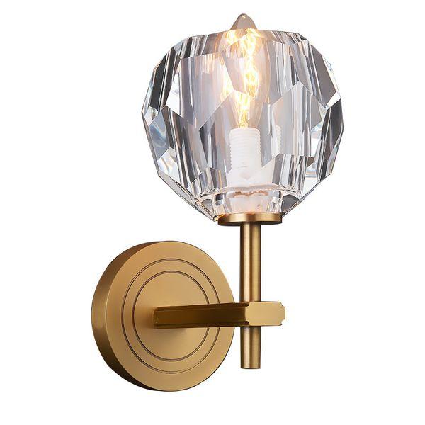 New Modern Crystal Wall Lamp For Bedroom Brief Design Gold-Bronze Wall Sconce Lighting Living Room Bedside Wall Light Fixtures 90-265V