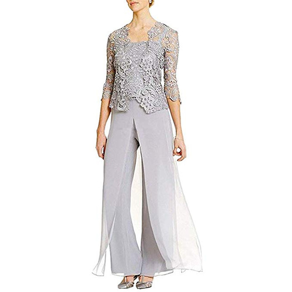 Elegant Women's Lace Appliques Mother's Formal Dresses with Pants Suits Formal Growns Party Mother Of The Bride Dresses Custom Made