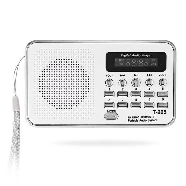 top popular Portable Mini FM Radio Speaker HiFi Card Digital Stereo Multimedia MP3 Music Player Loudspeaker Camping Hiki Sport T- 205 Free Shipping BA 2021