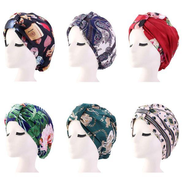 Mulheres Satin Imprimir Bonnet Cap Noite Cabelo sono Proteja Chemo Cap Head Cover elásticas Chapéus Hair Care plissadas Gorros Skullies Nova