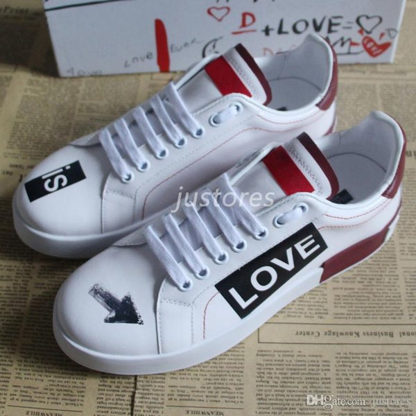 2019 Top Fashion Man Designer Shoe Love Genuine Leather Sneakers Italian Luxury Shoe Woman Casual Shoes With Box