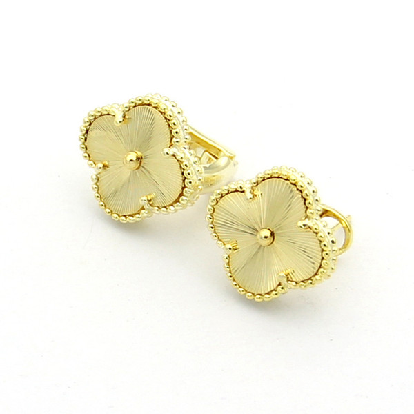 fashion new four leaf lover flower stud earrings gold plated all classic jewelry for women jewelry brincos shell four leaf earrings jewelry