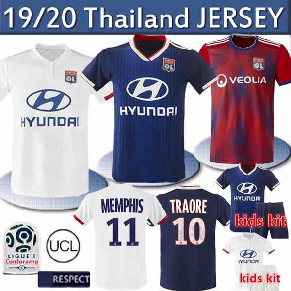 19 20 Таиланд Olympique Lyonnais футбола Джерси MEMPHIS 2019 2020 OL лион футбол ТРИКОТАЖНОГО FEKIR мужчину ребенок рубашки футбола Майо-де-футовой