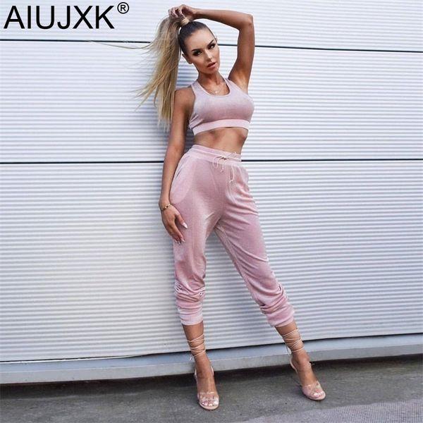 AIUJXK Women Spring Summer Pink Two Piece Set Sport Dance Casual 2 Pieces Crop Top And Pants Shining Woman Fashion Tracksuit