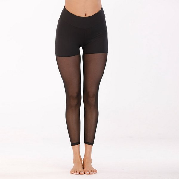 Mode Femmes Printemps et Été Vente Chaude Pur Écran Épissage Couleur Coloriage Sport Pantalon En Bas Élasticité Serré Hip Yoga