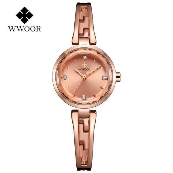 WWOOR New Gold Watch Femmes Robe De Quartz Montres Dames Montre-Bracelet Étanche Petite Horloge Femme Bracelet Montres-Bracelets