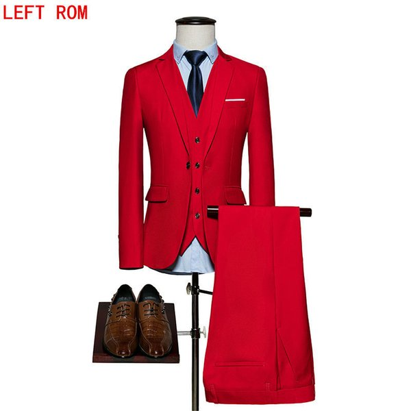 (Blazer+Pants+Vest) Classic Men Suit Slim Royal Blue Wedding Groom Wear Men Suit Black Gentlemen Costume Mariage Homme S-6XL C19011401