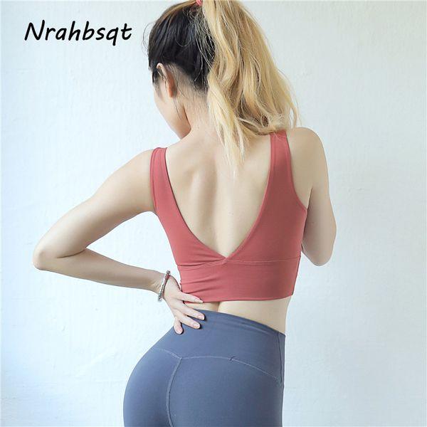 nrahbsqt deep v beauty back bras for women sport bra brassiere push up vest bra seamless running sports underwear yn009