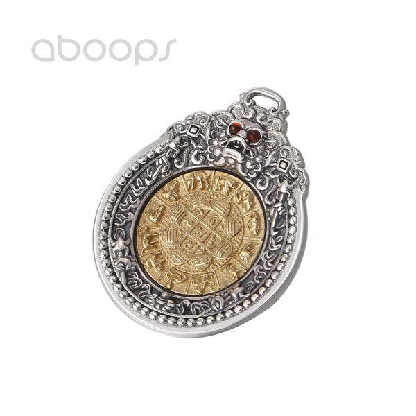 Vintage 925 Sterling Silver Estilo Chinês Pingente Zodiacs Bagua PIXIU Vajra para Homens Meninos Frete Grátis