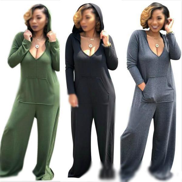 Seksi Derin V Boyun Hoodies Artı Boyutu 3XL tulum tulum Katı Renk Pamuk Tulum Gerilmiş Loosed Geniş Bacak Pantolon Ile Cepler