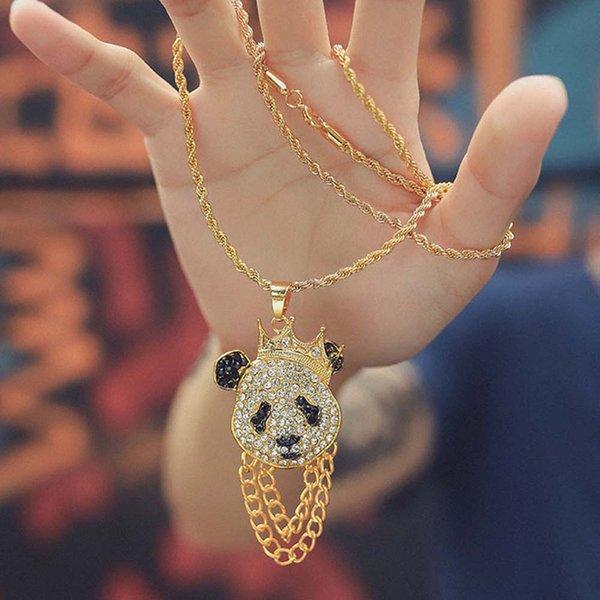 simple panda pendant necklace men's club dj nightclub hip hop fashion single crystal panda pendant