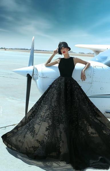 2019 dentelle noire une ligne pas cher longue plage élégante robes de soirée occasion spéciale robes sexy de cocktail robes de bal parti robe usa