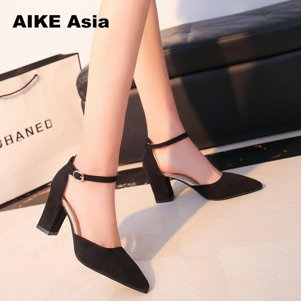 Summer Women Fashion High Heel Shoes Comfortable Flock Buckle Footwear Women Pumps Female Sandals Party Wedding Shoes