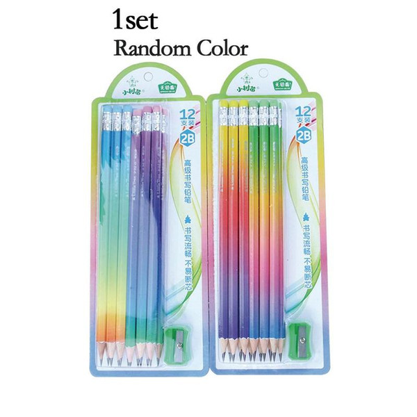 12pencil/pack+1pencil Sharpener Simple Rainbow Gradient Handle 2b Wooden Pencil Kids Writing Drawing Pencil Student Stationery