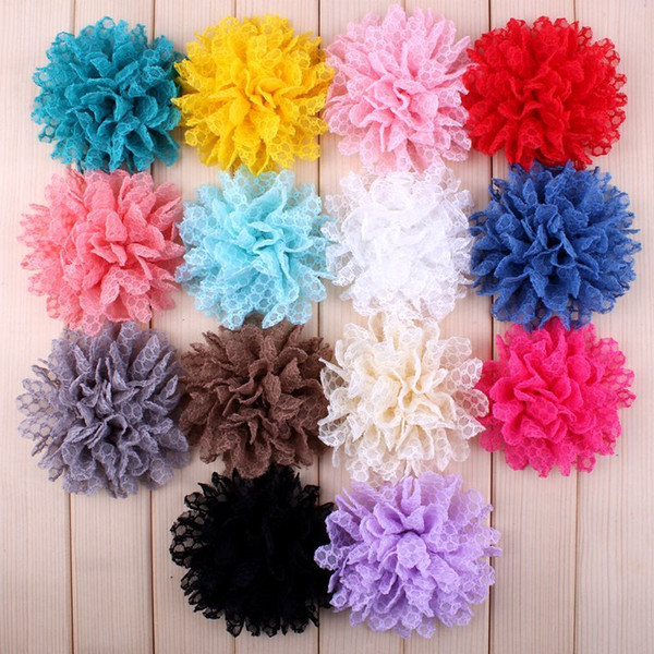 "30pcs/lot 4"" 14 Colors Hot Sale Solid Ballerina Lace Flower For Girl Hair Accessories Artificial Fabric Flowers For Headbands J190507"