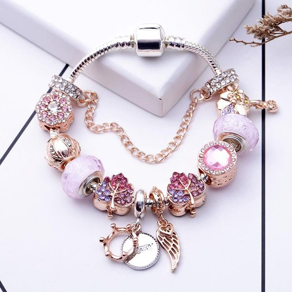 best selling The new rose gold leaf bead bracelet is suitable for Pandora style ladies holiday gift jewelry