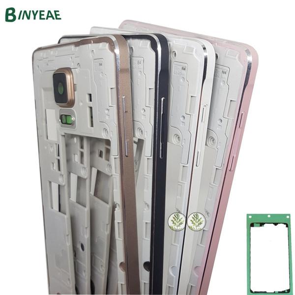 Para Samsung Galaxy Note 4 N910F N910A N910G N910T Quadro N910C N910W8 Oriente moldura Chassis Habitação + Adhesive Preto Ouro Branco