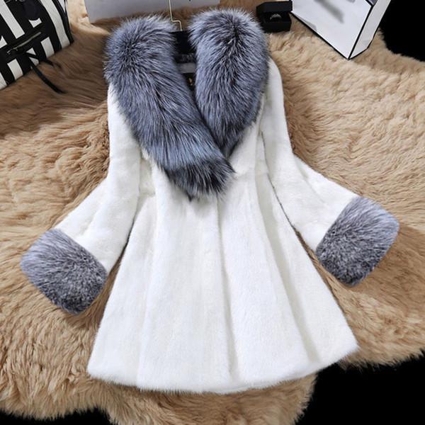 Épais manteau en fausse fourrure d'hiver de luxe Outwear Femme Faux col de fourrure de vison Pardessus 2019 Nouveau chaud Femme Temps chaud Manteau Femme Faux
