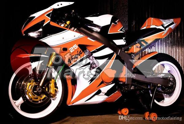 Ücretsiz hediyeler Yeni Enjeksiyon Kalıplama Fairing kitleri 03 04 ZX 6R 636 2003 2004 Ninja ZX6R ZX636 ABS kaportalar Vücut kitleri Soğuk siyah beyaz turuncu