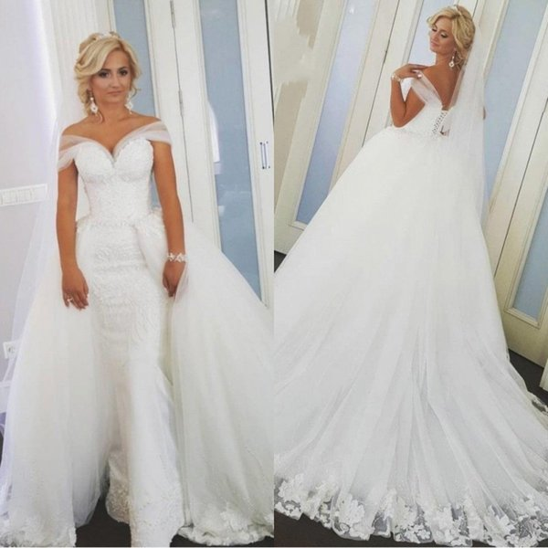 2019 White Sheath Off Shoulder Wedding Dresses With Detachable Train Lace Up Back Sweep Train African Bridal Wedding Gowns BC2142