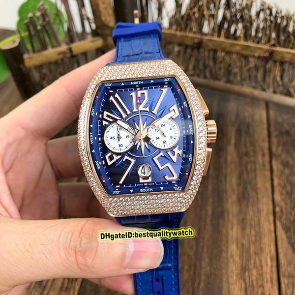 NUOVO SARATOGE YACHTING V45 CC DT Diamanti YACHTING OG Caso Quadrante Blu Giappone VK quarzo Cronografo Movimento Mens Orologi dell'orologio sportivo in pelle