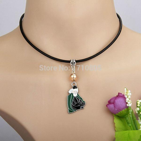 10pcs/lot Alloy Drop Glaze Santa Claus Necklace Multicolor Glass Bead Charm Pendant Leather Rope Necklace Jewelry Valentine's Day Present