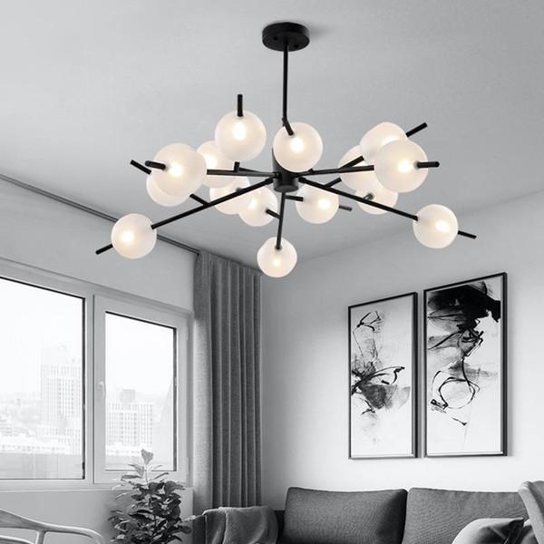 Modern Led Creative Pendant Light Luxury Hanging Lamp Glass Restaurant Pendant Lamp Kitchen Light Black Lamp Living Room Ceiling Light Edison Bulb